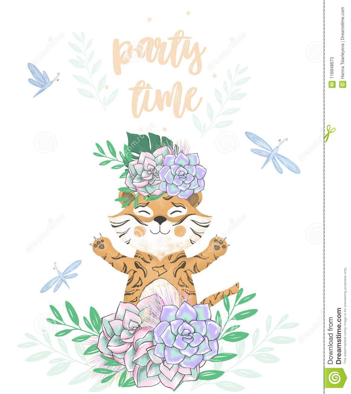 Tiger Digital Clip Art Cute Animal And Flowers Party Time Text Greeting Celebration