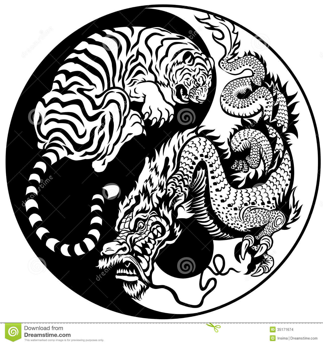 Tiger And Dragon Yin Yang Symbol Stock Vector Illustration Of