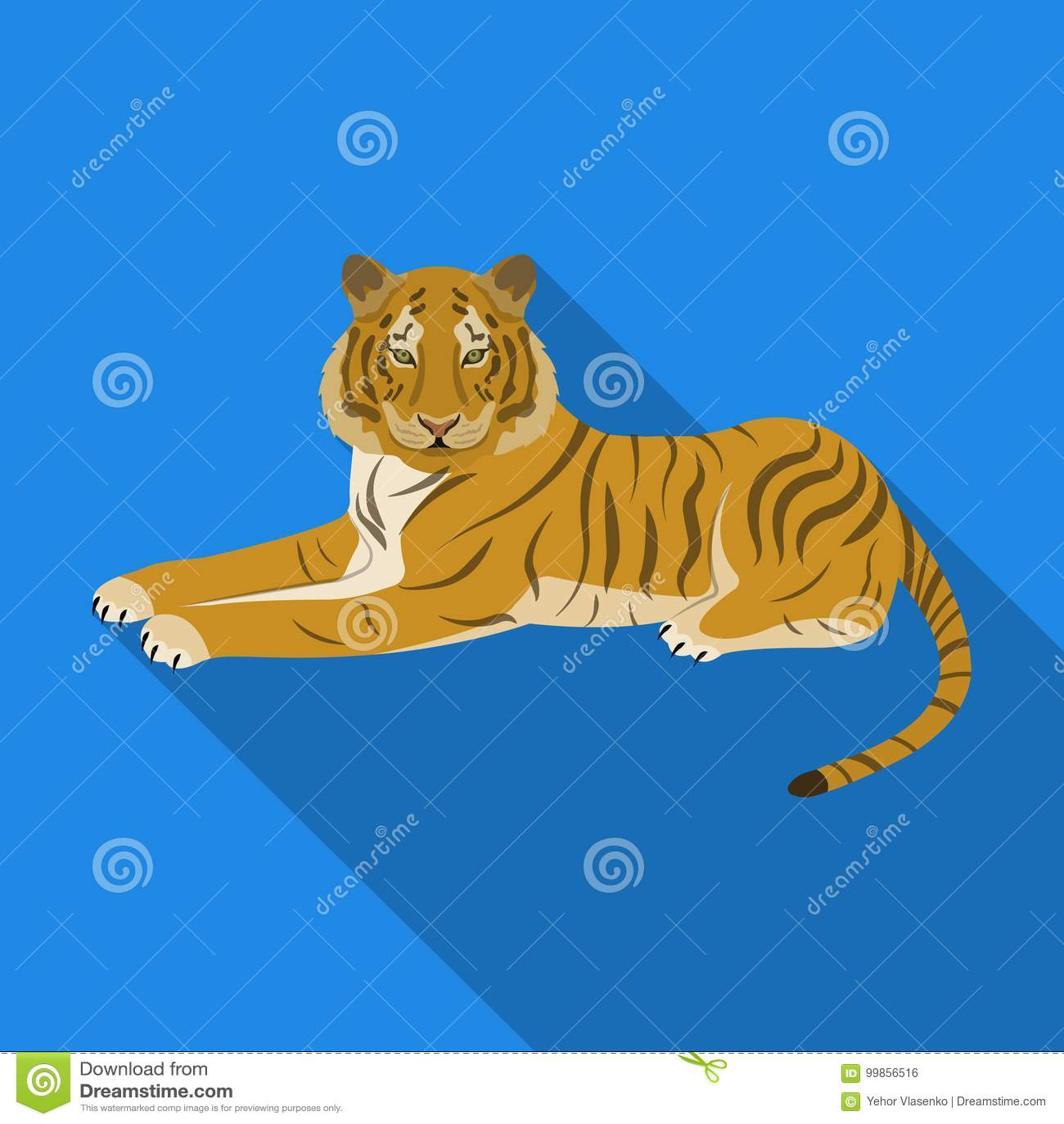 Tiger ett rov- djur Den belgiska tigern, en enkel symbol för stor lös katt i plant materiel för stilvektorsymbol