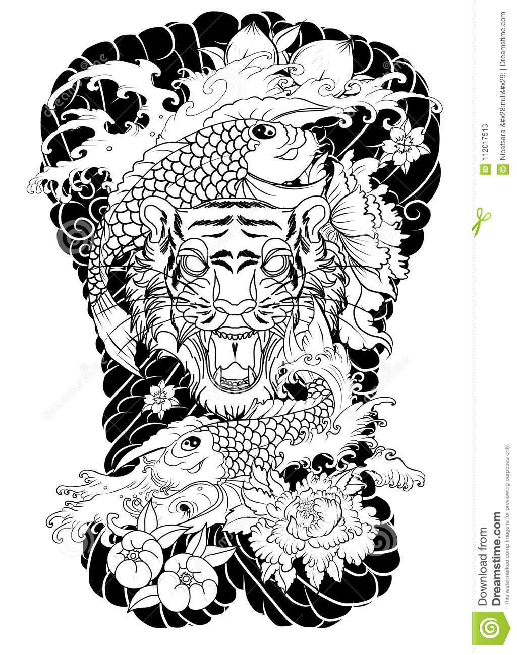 Tiger Face With Koi Dragon On Cloud Background Koi Fish With Tiger