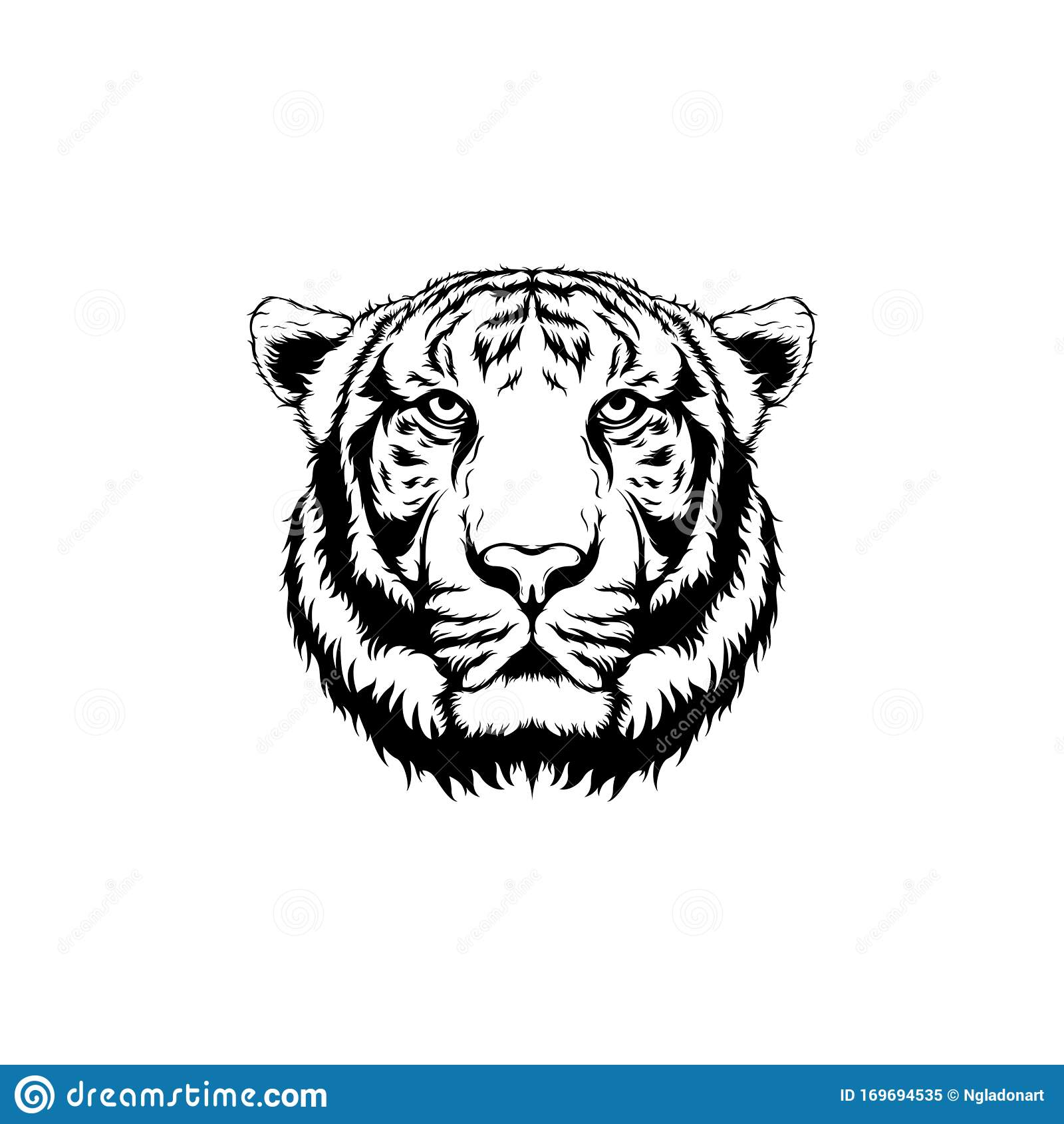 Tiger Face Line Art For Tattoo Stock Vector - Illustration ...