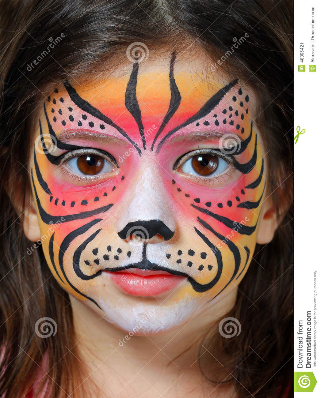 tiger face paint stock image image of posing makeup 48306421