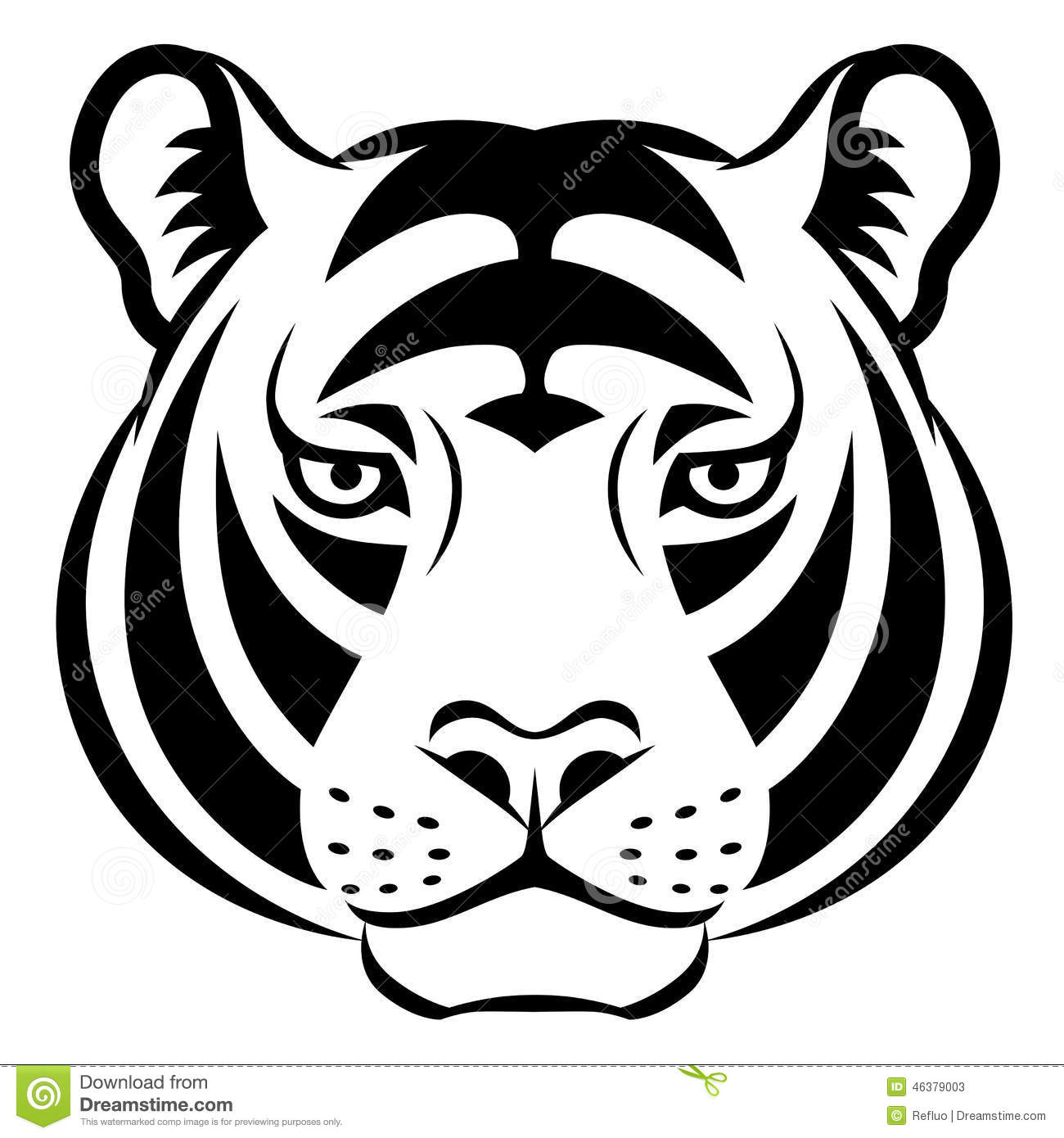 tiger face symbol stock vector image 46379003