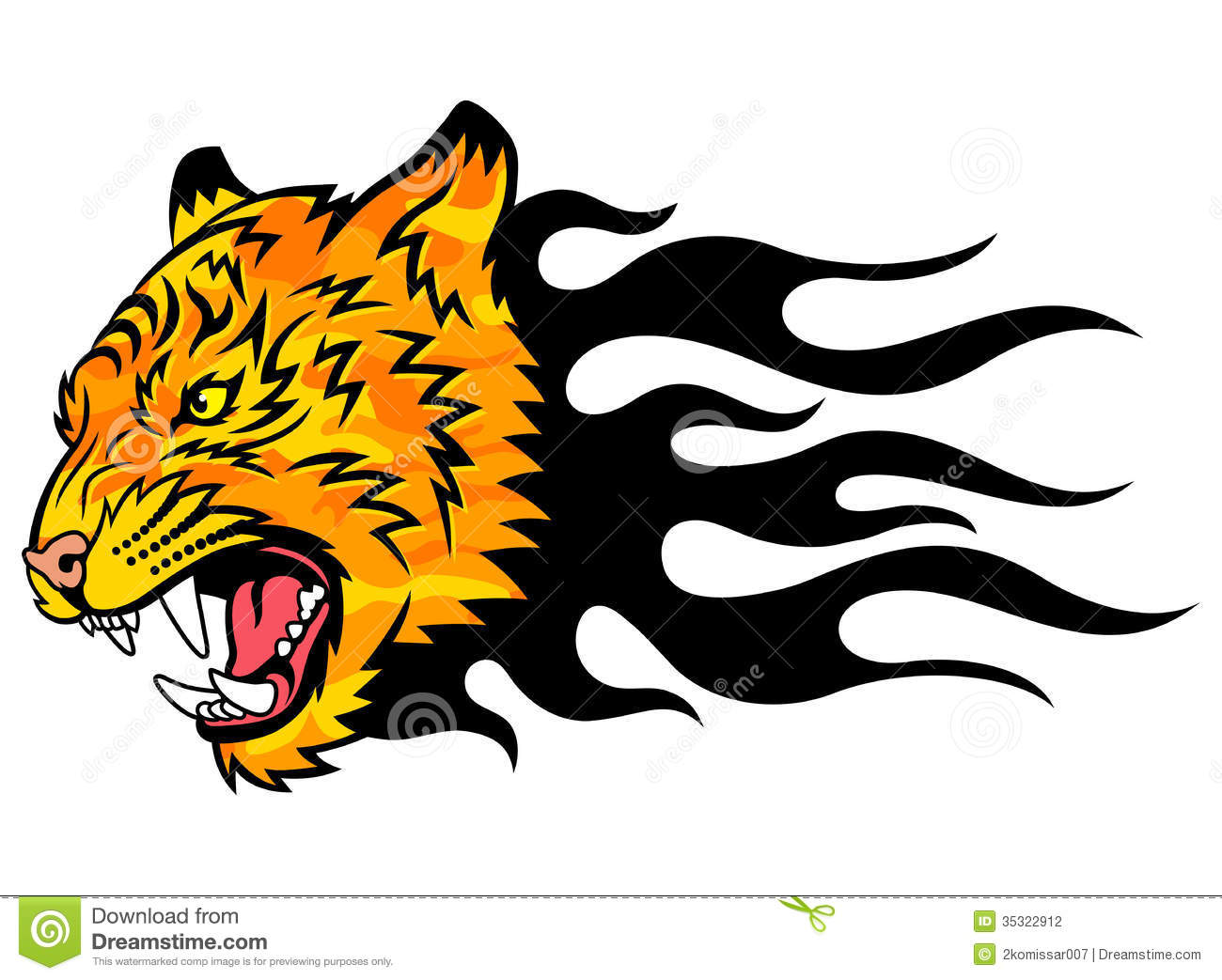 Tiger on fire stock vector. Image of fang, front, mascot