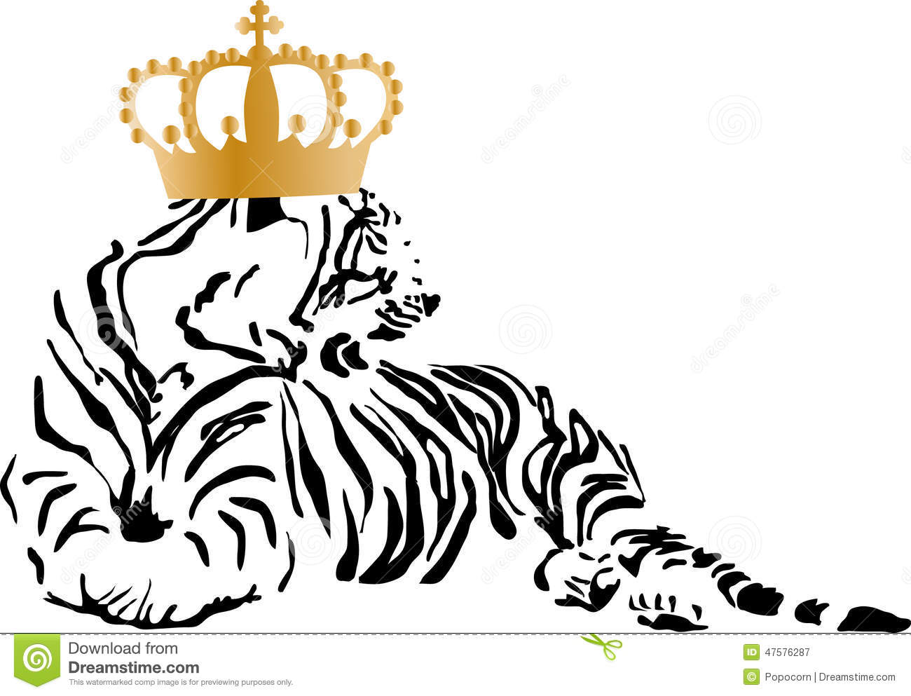 a tiger with a golden crown stock vector