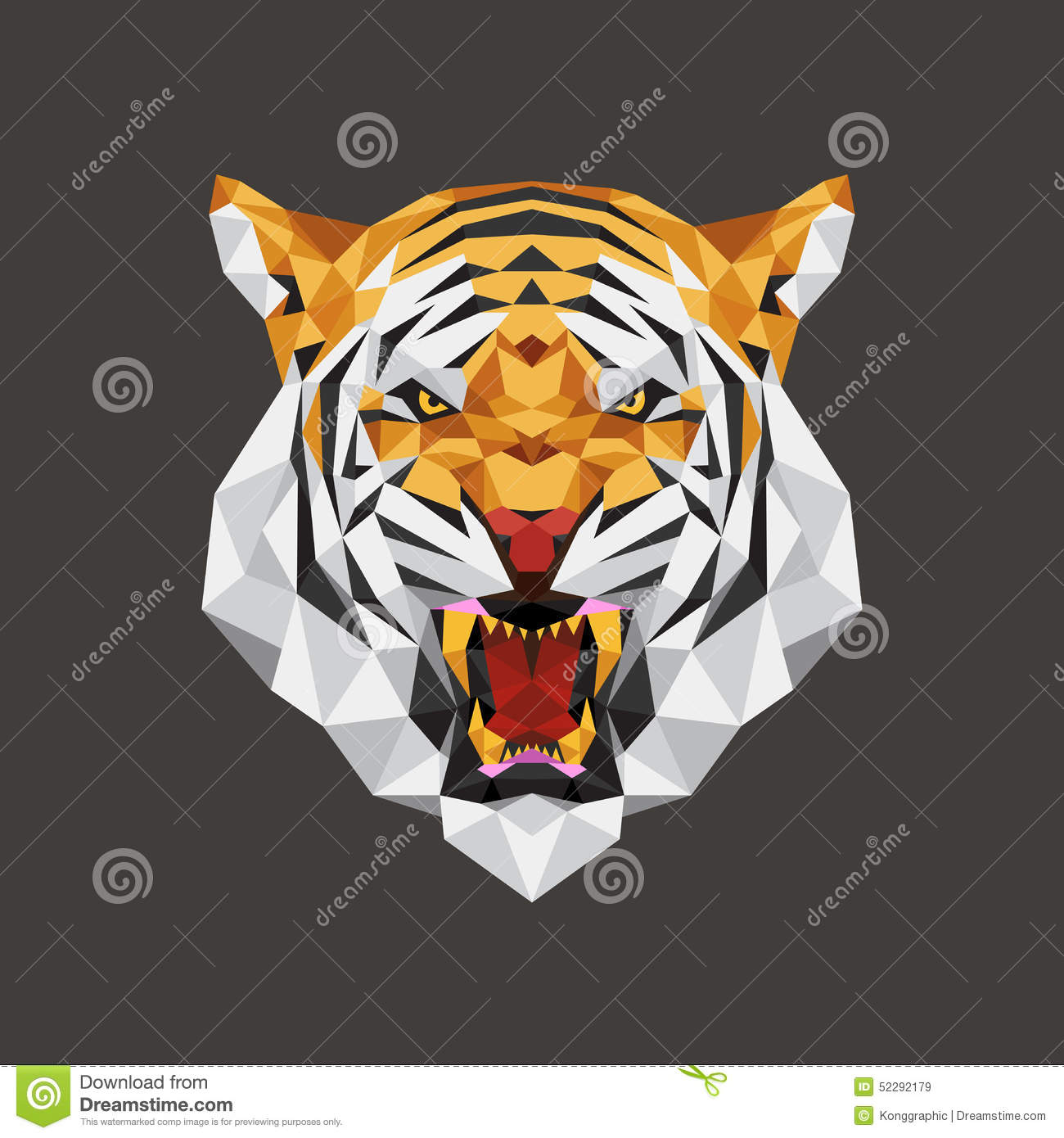 Tiger head triangular icon geometric trendy stock vector image - Tiger Head Polygon Geometric Vector Illustration Royalty Free Stock Images