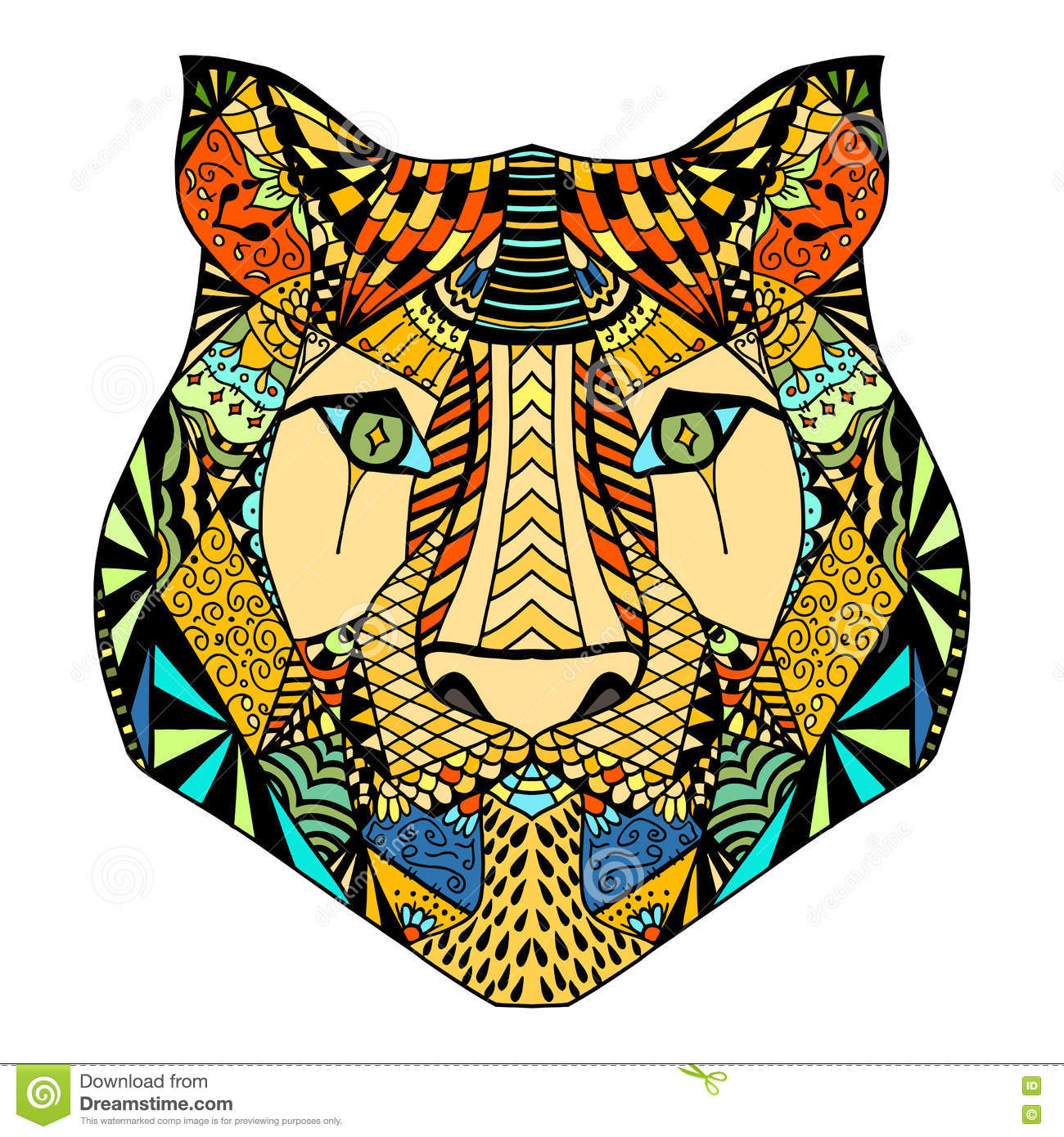 Vintage Indian Style Tiger Head Illustration With Vector
