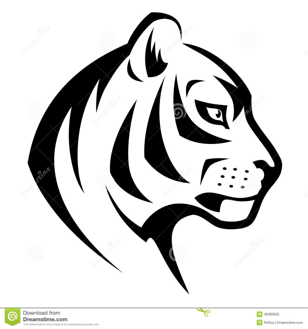 Stylized head of serious tiger isolated on white background.