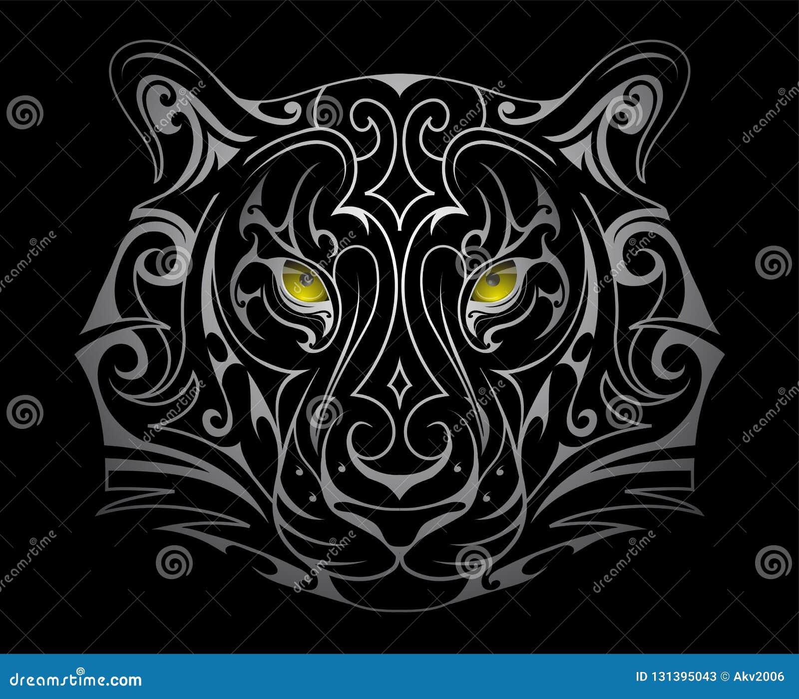 Tiger Head Tattoo Shape Stock Vector Illustration Of Tiger 131395043