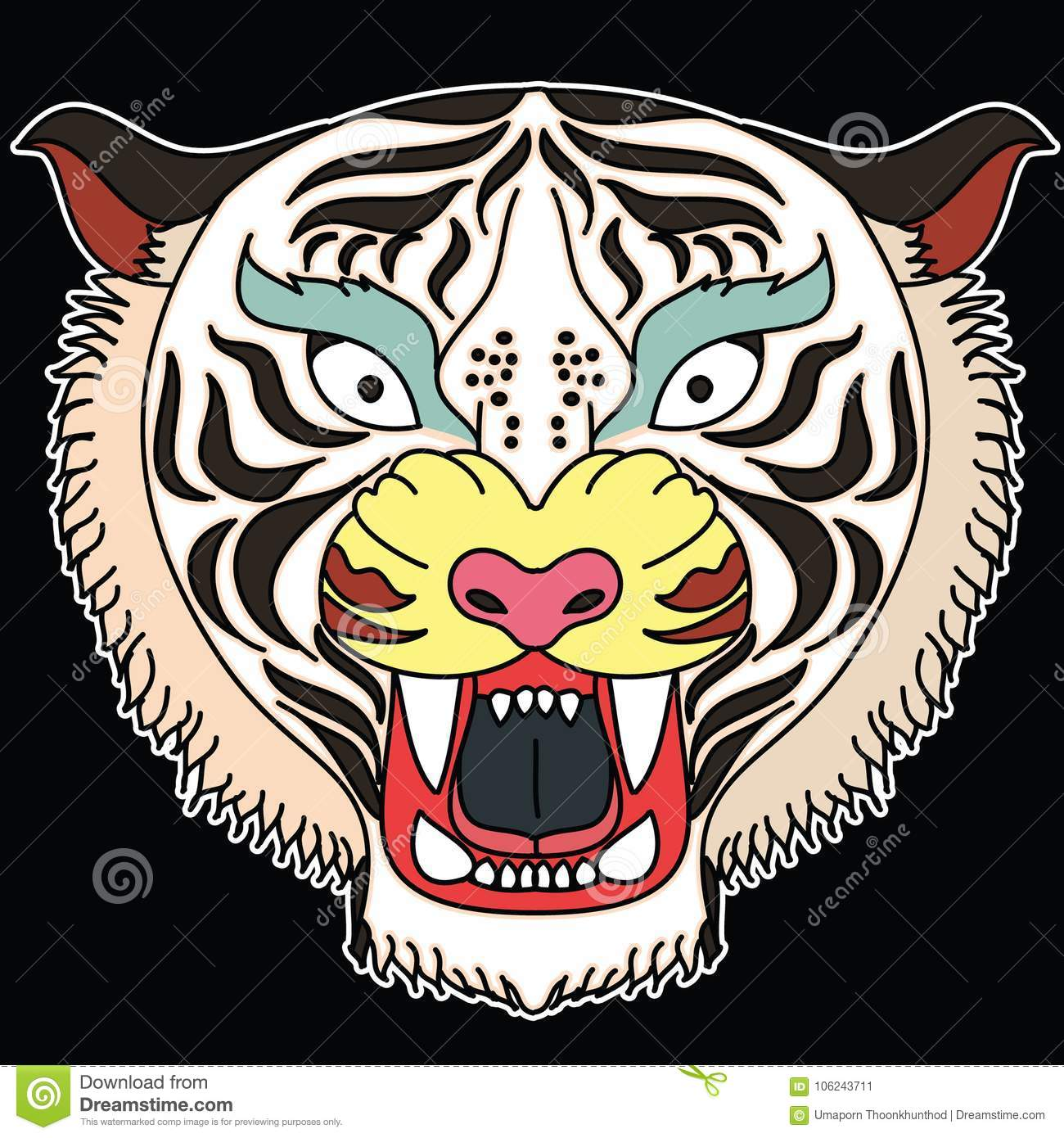 77105a0c6 Tiger Face Tattoo For Sticker. Stock Vector - Illustration of flower ...