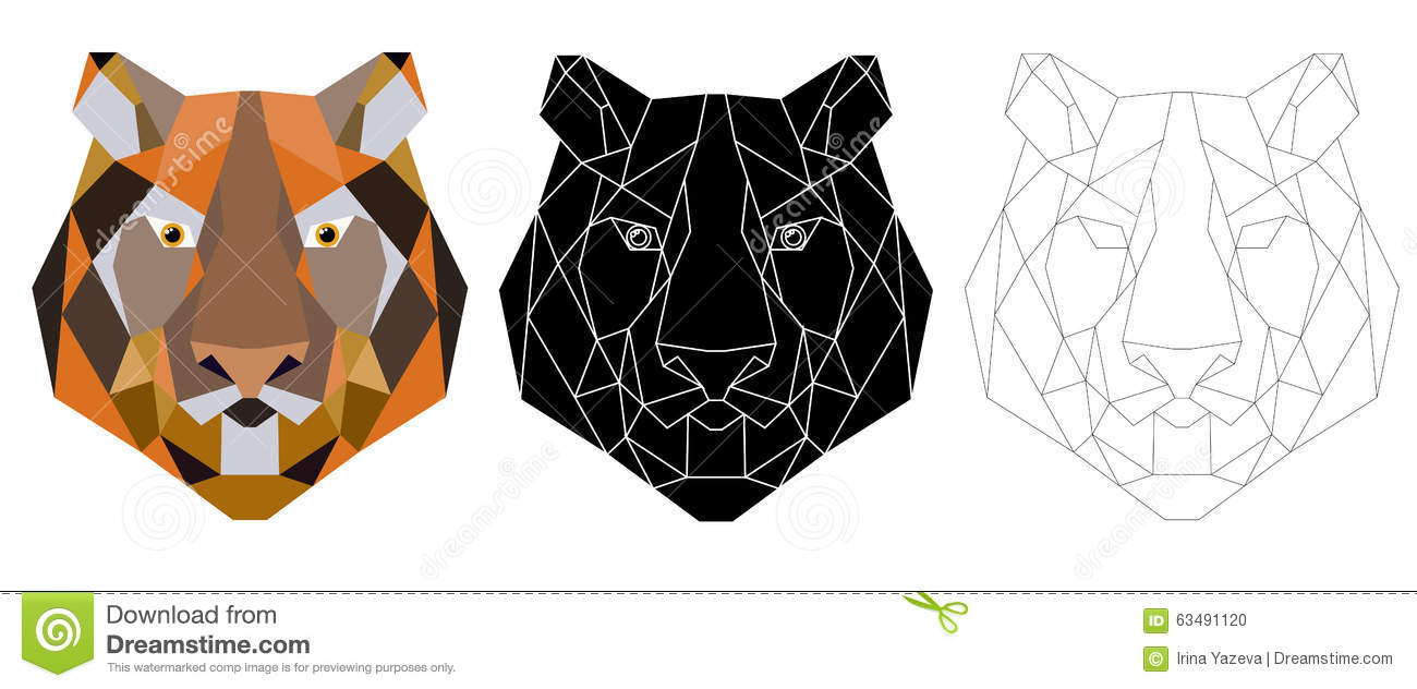 Tiger head triangular icon geometric trendy stock vector image - Royalty Free Vector Coloring Design Geometric Head Icon Illustration Pattern Tattoo Tiger Trendy Triangular