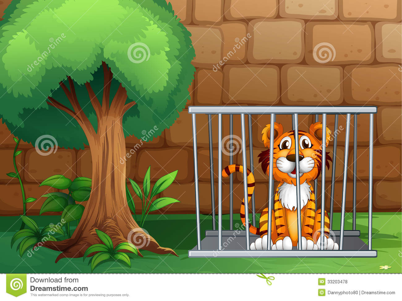 A Tiger Inside The Animal Cage Stock Illustration