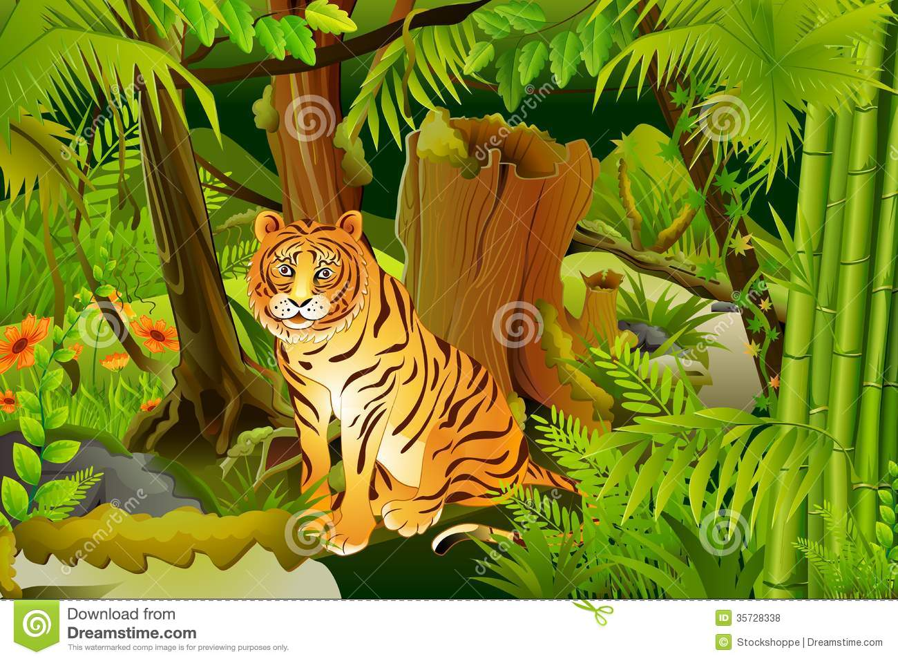 Tiger In Jungle Royalty Free Stock Photos - Image: 35728338