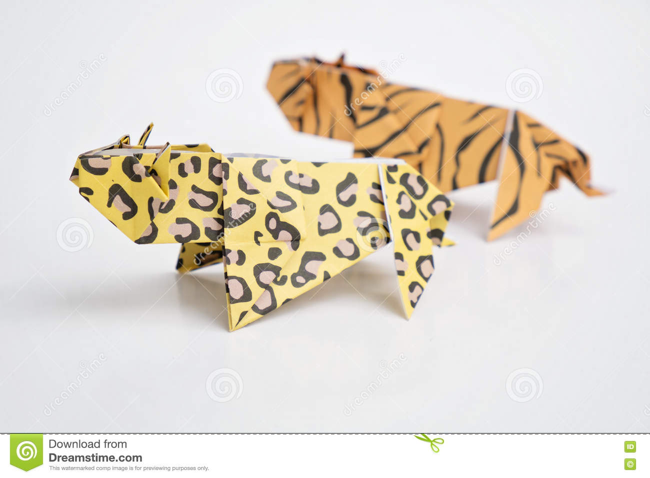 Tiger And Leopard Origami Stock Image Of Nature