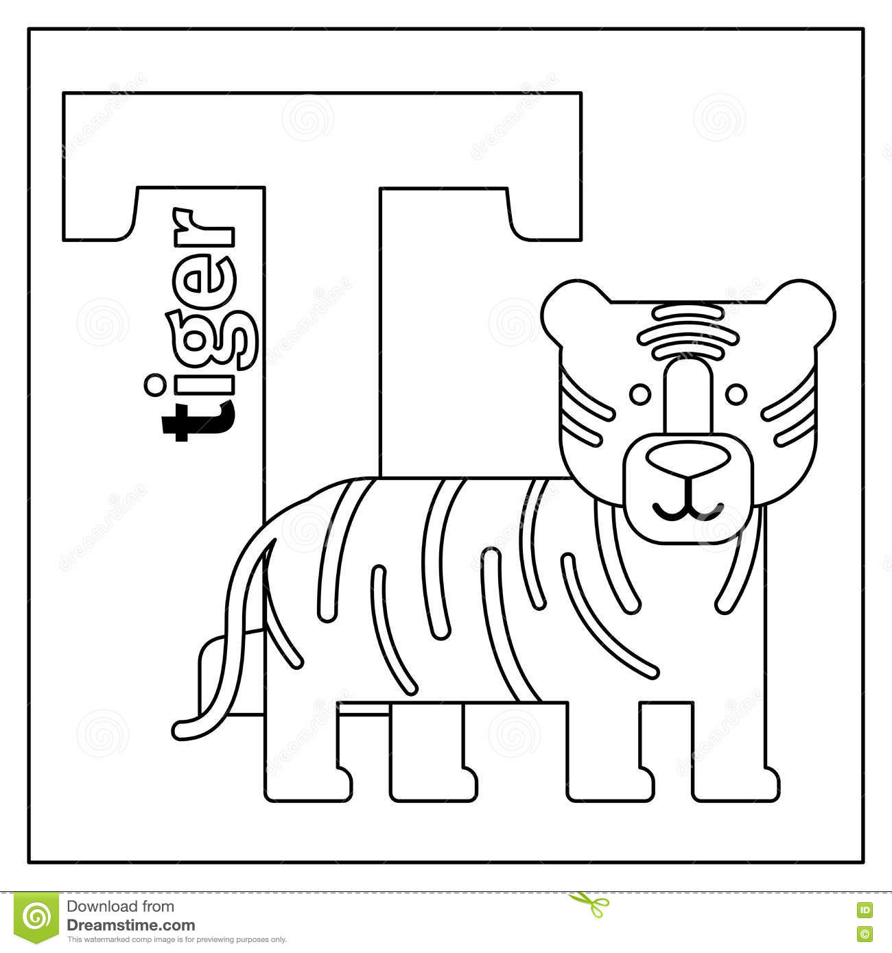 Download Tiger Letter T Coloring Page Stock Vector