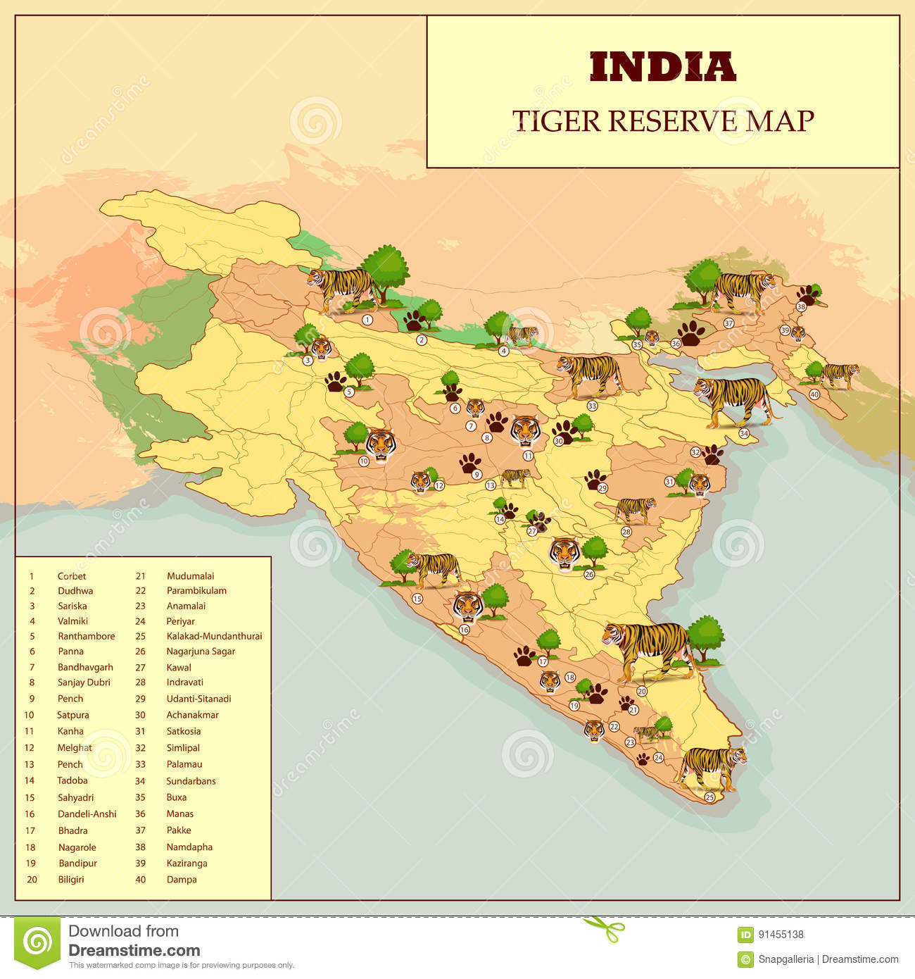 Easy Tiger World Map. Tiger Reserve Map Of India stock vector  Illustration of park