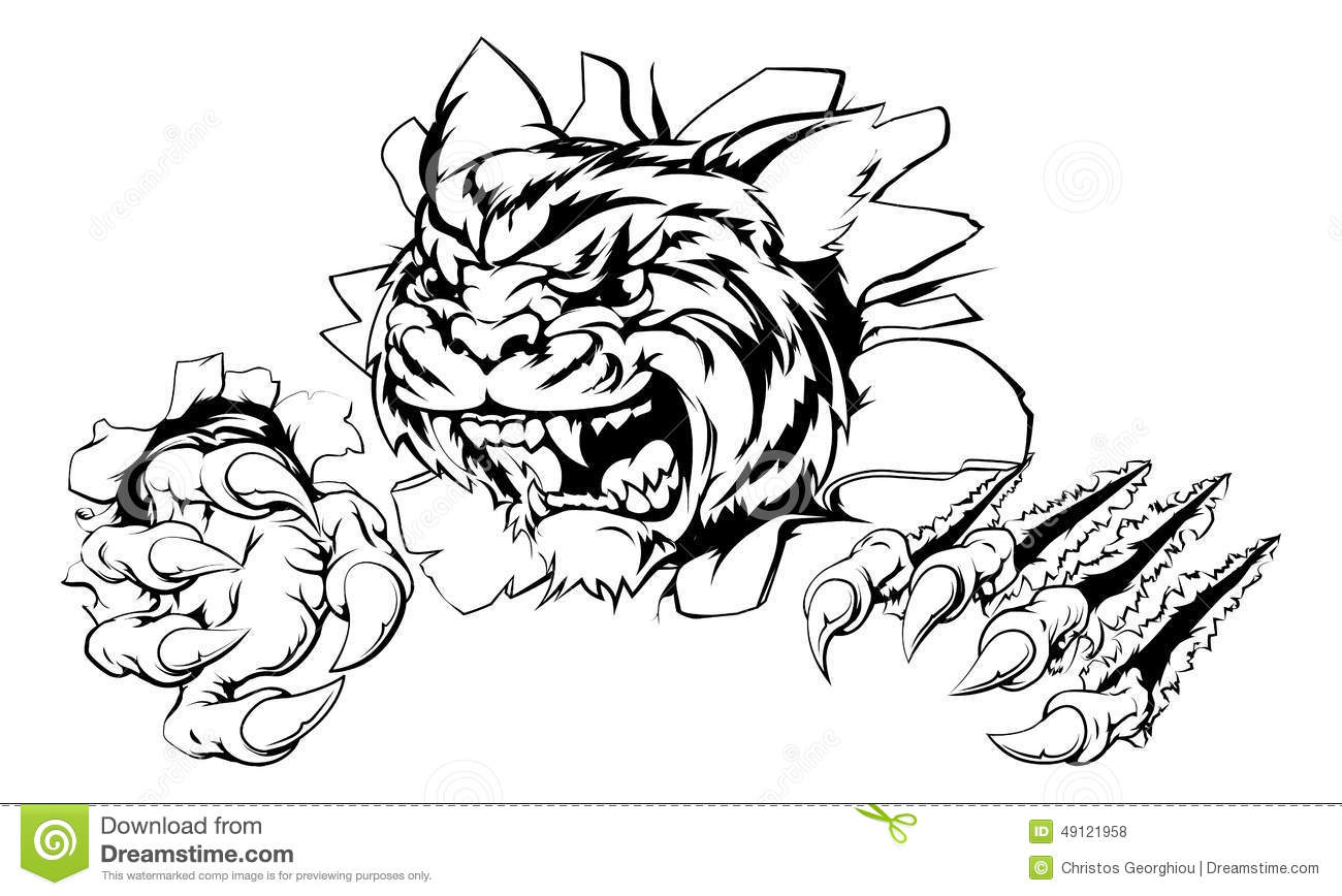 Tiger Ripping Through Background Stock Vector - Image ... Bengal Tigers Attacking