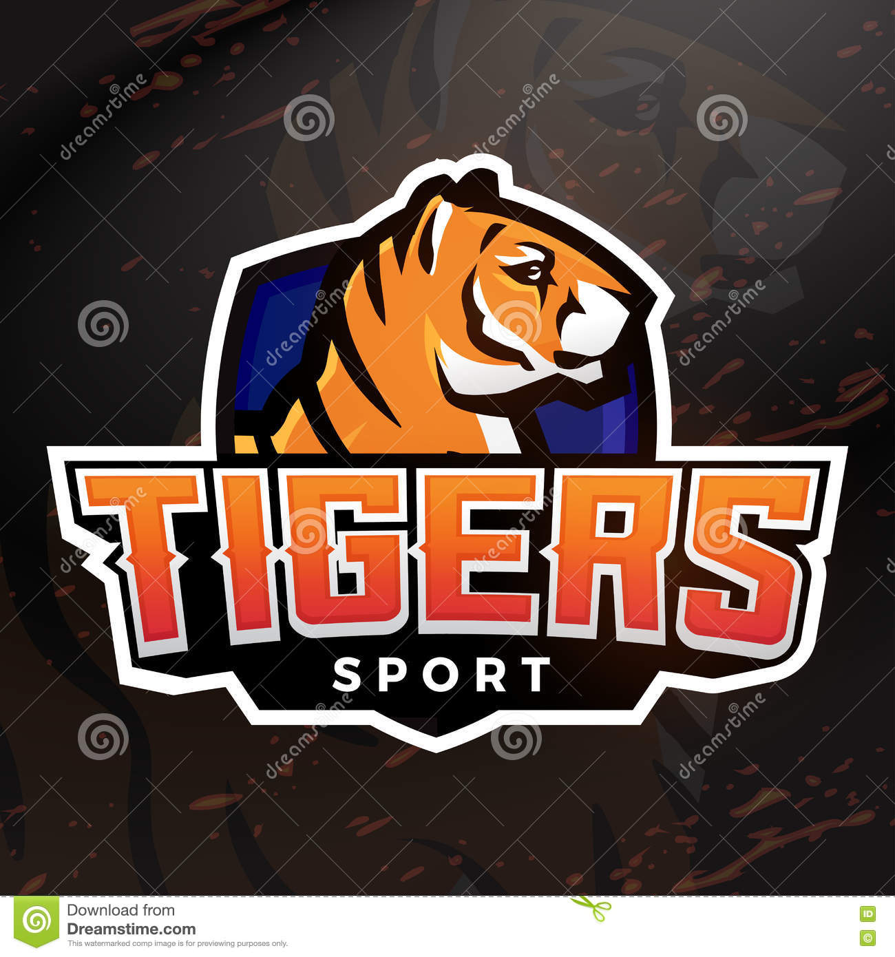 Tiger Shield Sport Mascot Template. Premade Football, Basketball Or ...