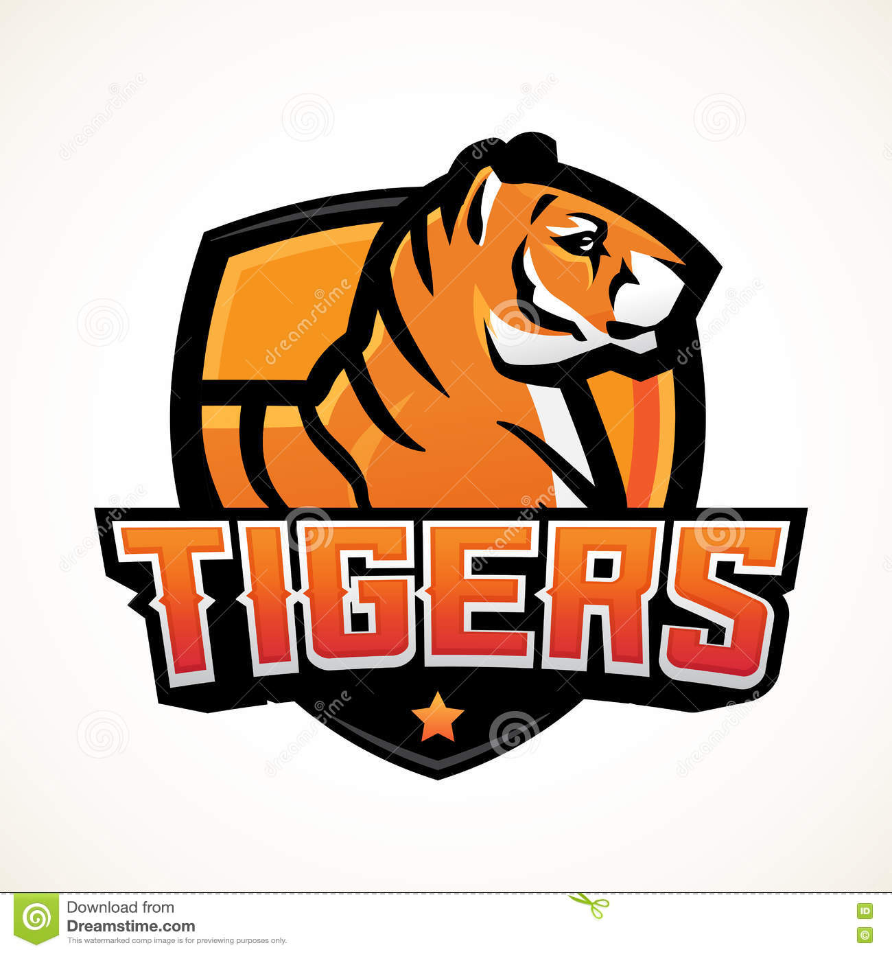 tiger shield sport mascot template premade football or basketball