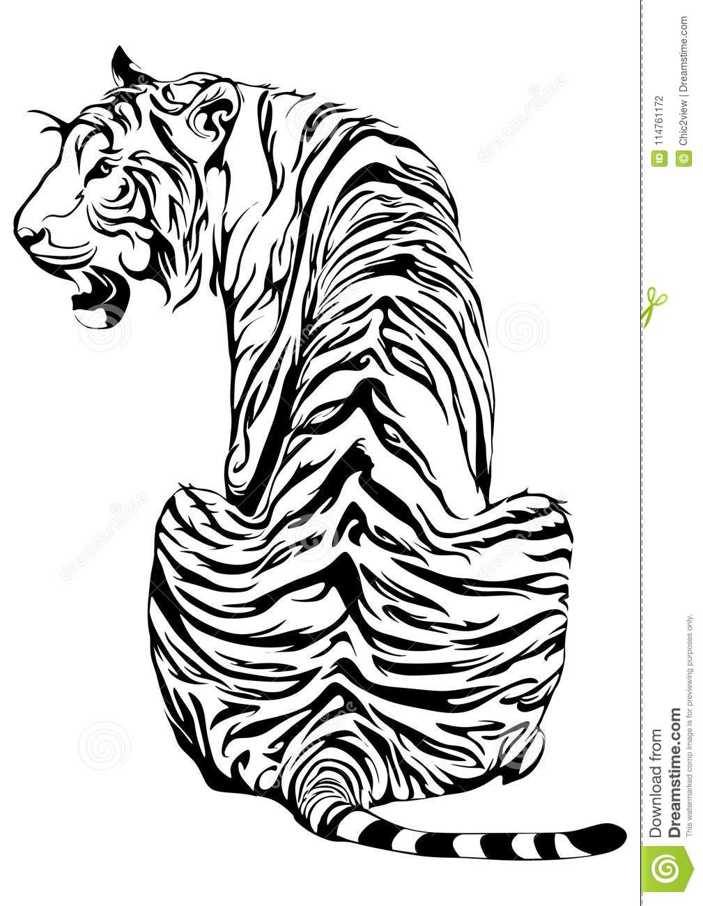 Tiger Sit Down And Look Back Design For Tribal Tattoo Stock