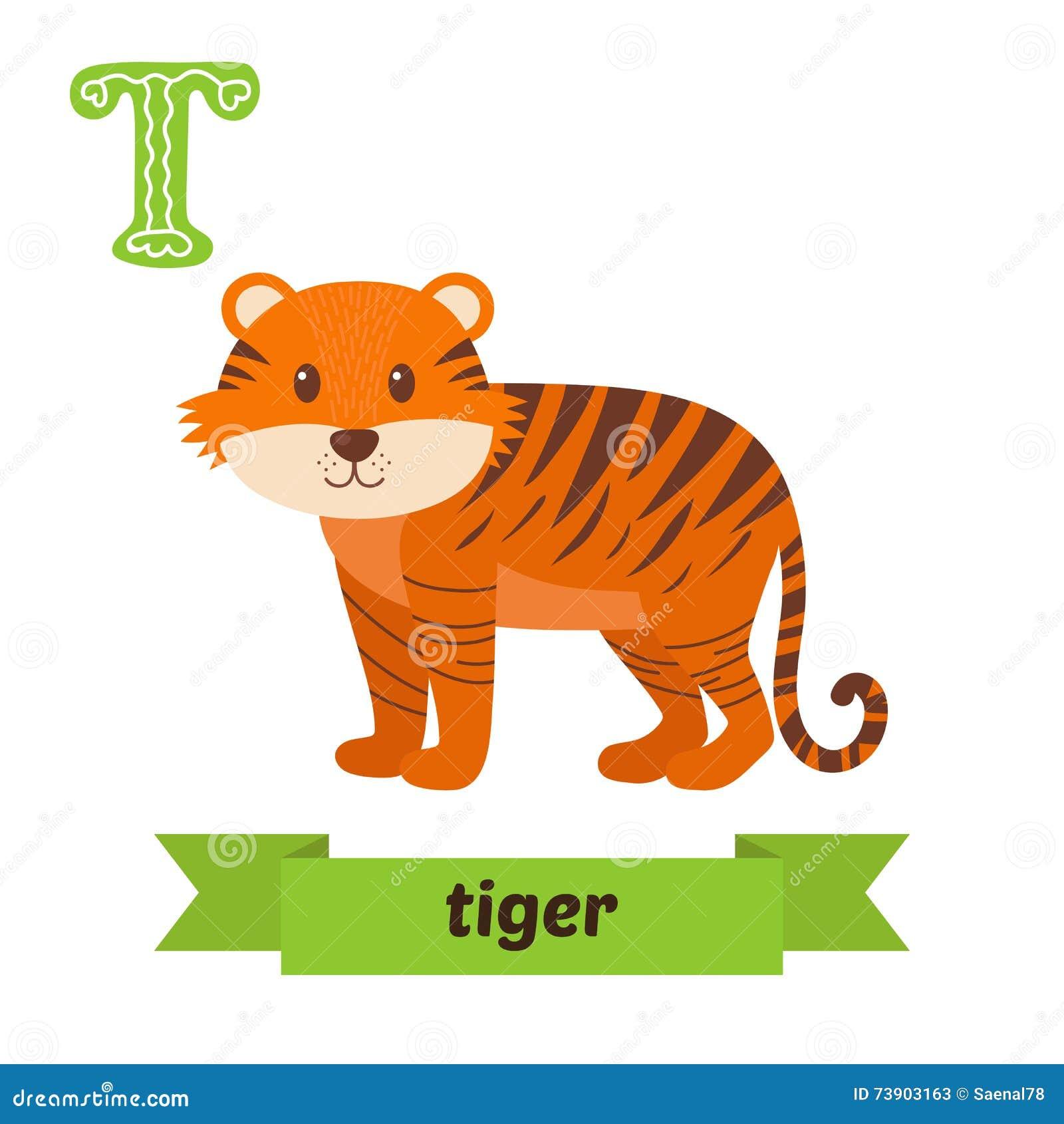 Alphabet J R Tiger Cartoon Vector