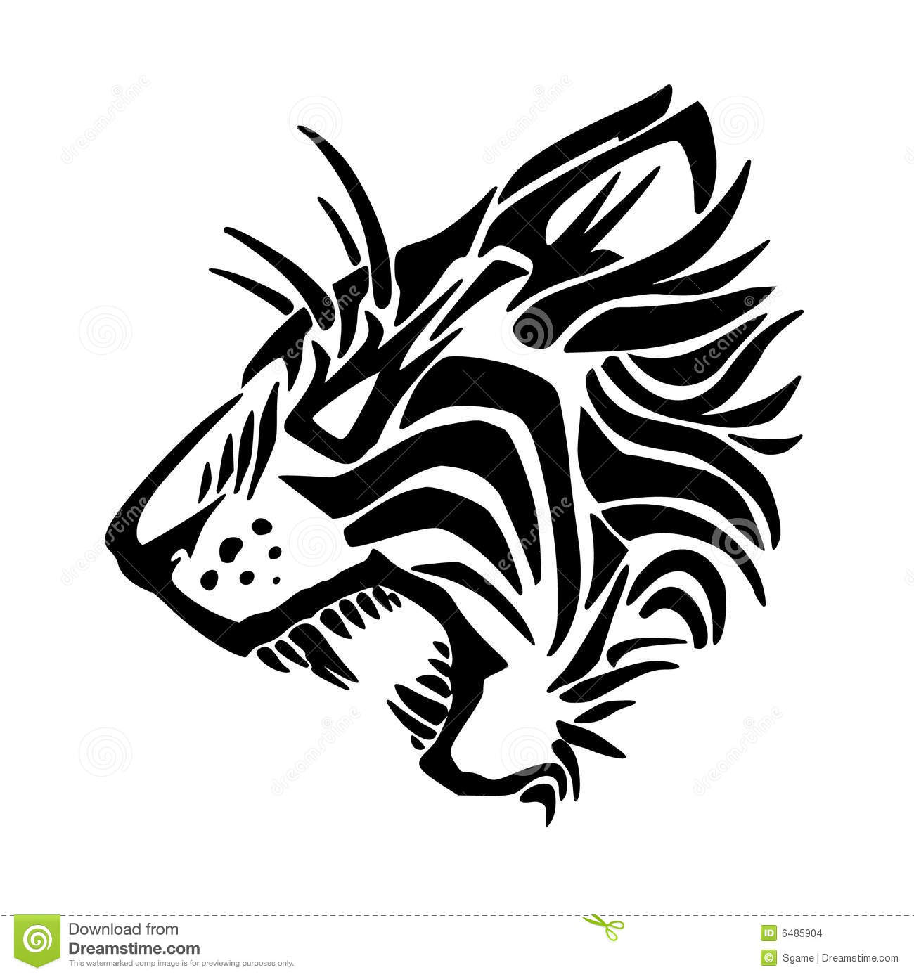 Tiger silhouette isolated on white background.