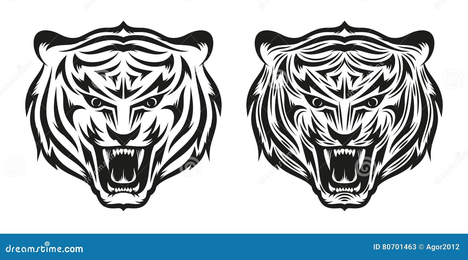 Tiger Tattoo Stock Vector Illustration Of Black Roaring 80701463