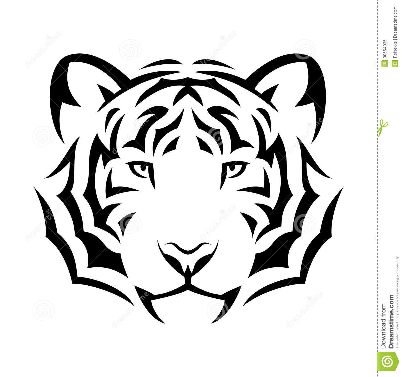 Tribal tiger tattoo design illustration. Black isolated on white.: www.dreamstime.com/royalty-free-stock-photo-tiger-tattoo-tribal...