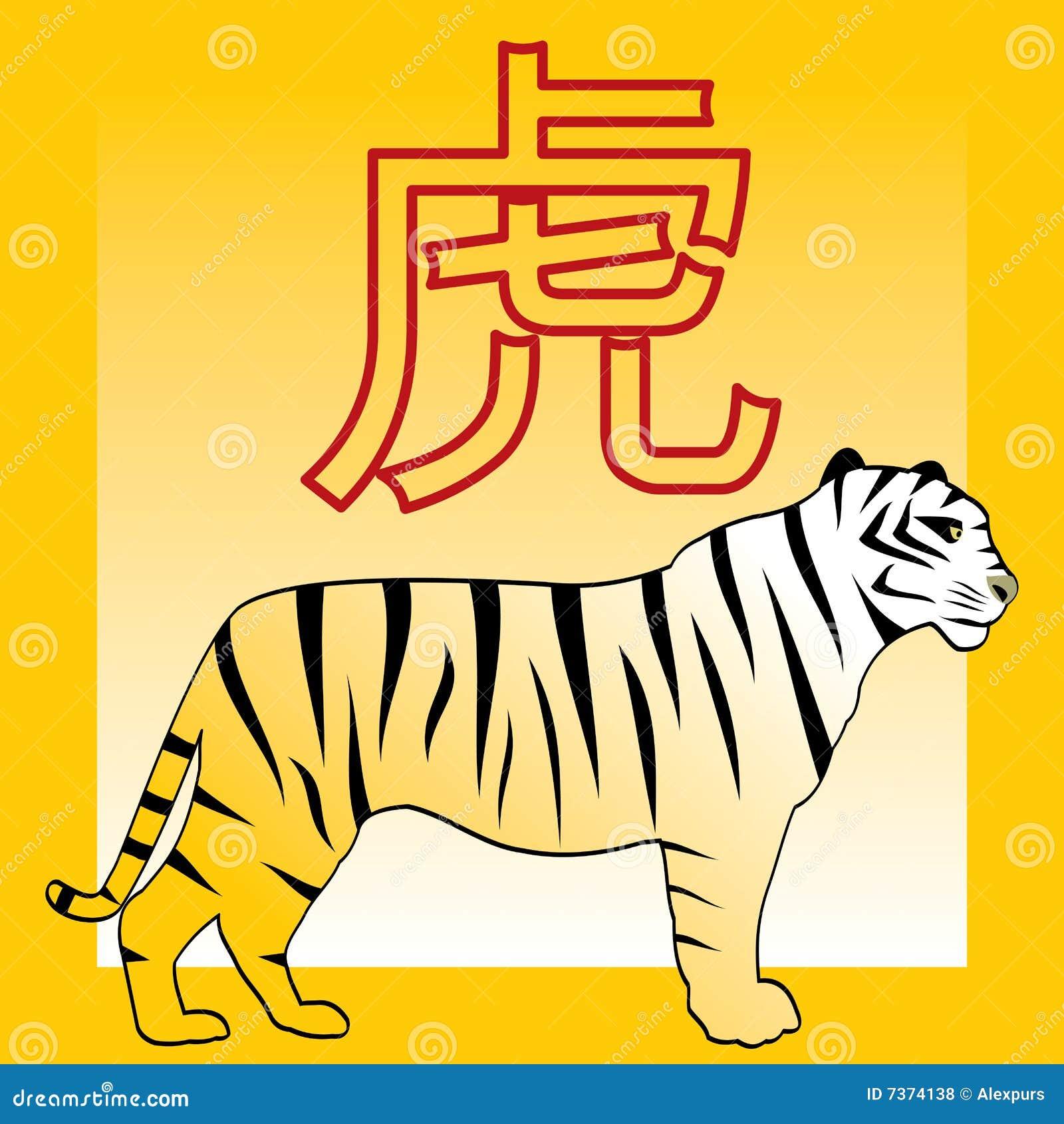 tiger und japanisches und chinesisches horoskop hieroglyp lizenzfreie stockfotos bild 7374138. Black Bedroom Furniture Sets. Home Design Ideas