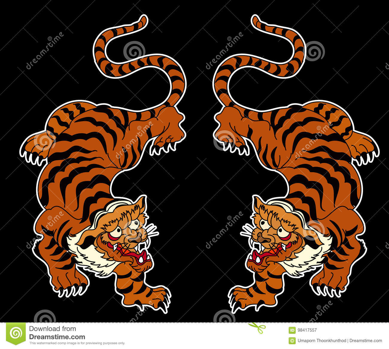 ee3e6e273bc29 Outline and doodle art Tiger vector is on black background.Drawing tiger  for tattoo. More similar stock illustrations