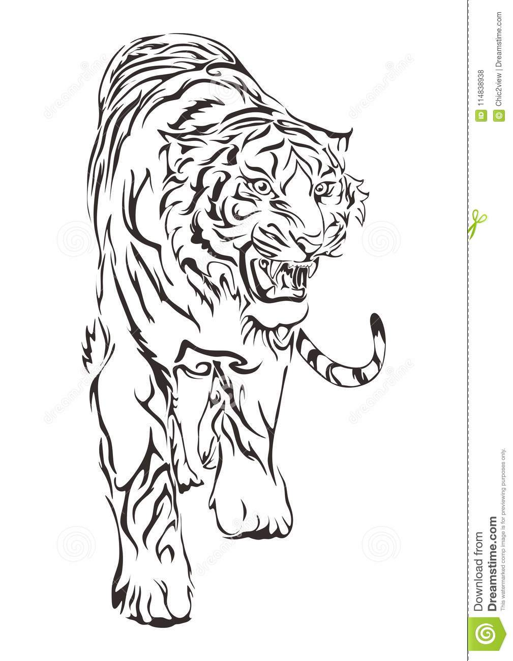 Tiger Walking And Roar Design By Hand Drawing For Tribal Tattoo