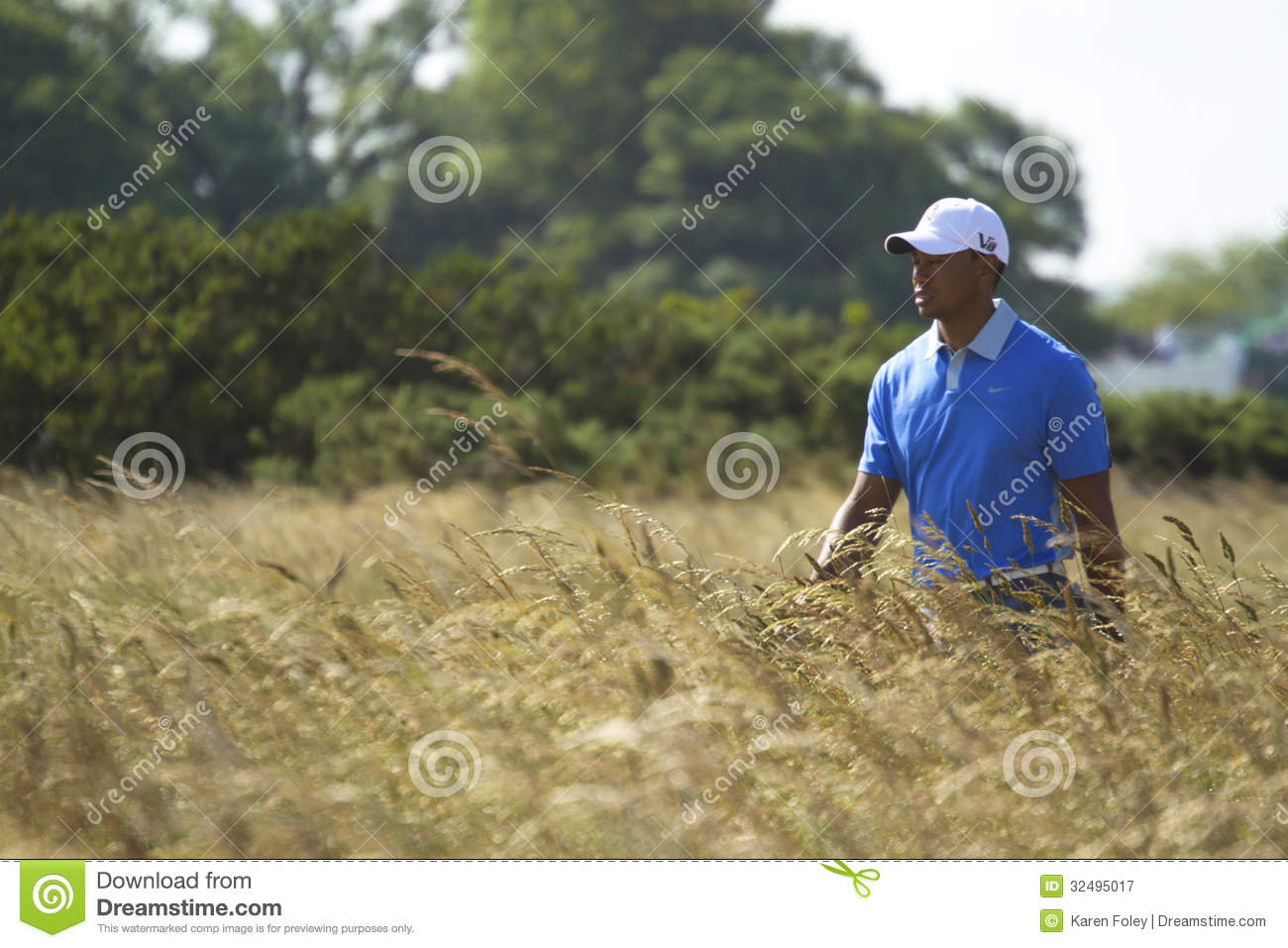 Tiger Woods Walking With Eyes Closed Editorial Photography
