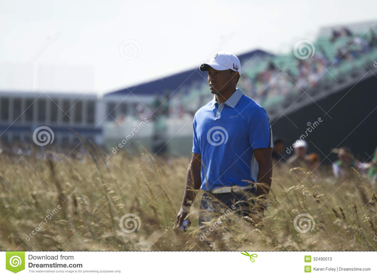 tiger woods walking to tee on 18 editorial stock photo