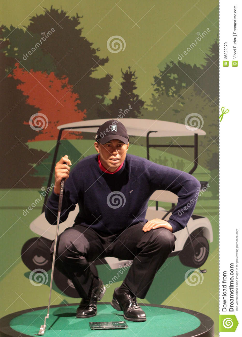 Tiger Woods At Miniature Golf Course Cartoon Vector ...
