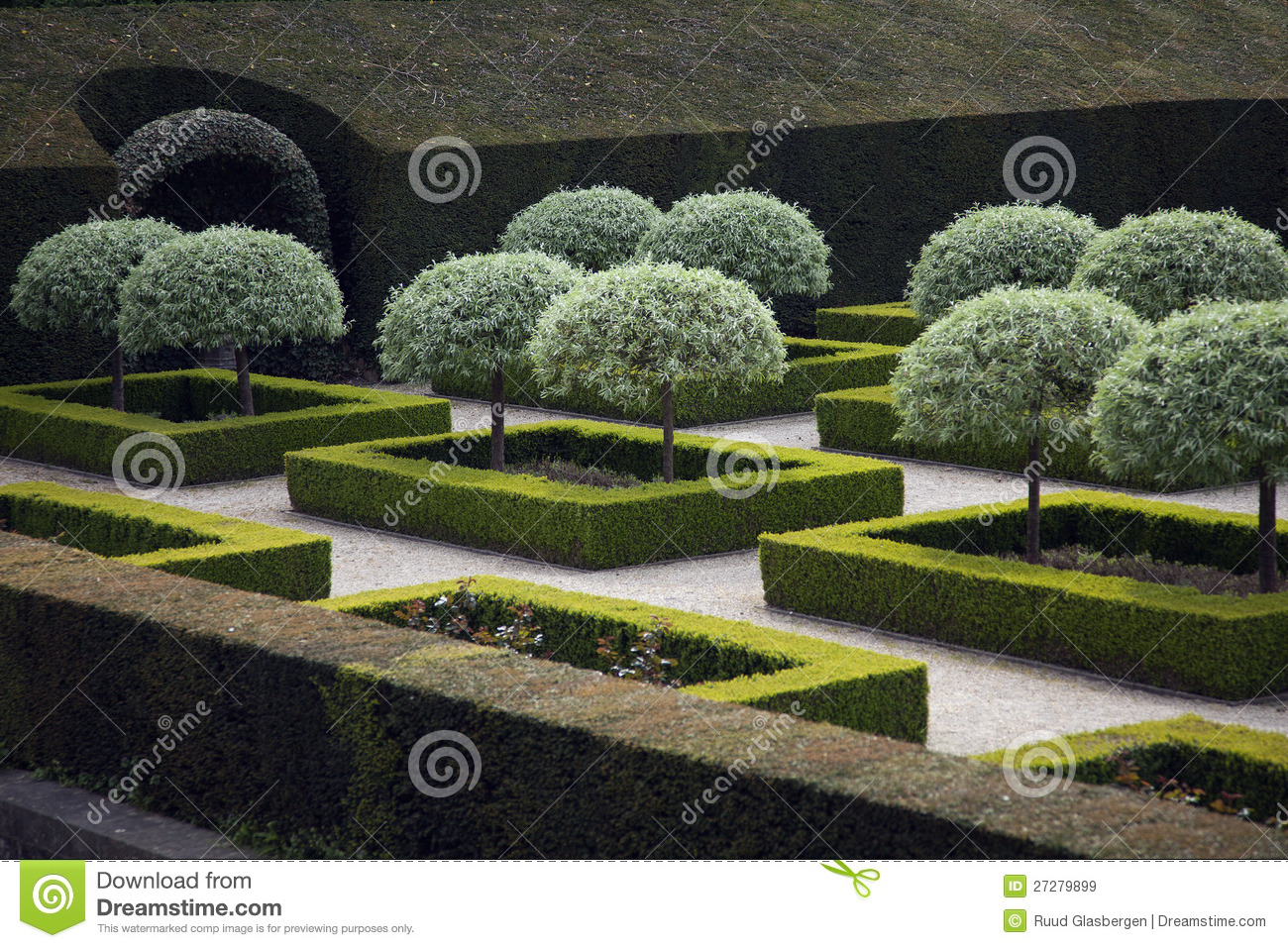 Tightly Clipped Shrubs In French Garden Stock Image ...