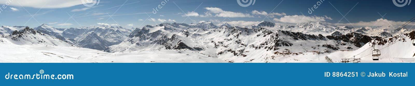 Tignes de ski de ressource de panorama