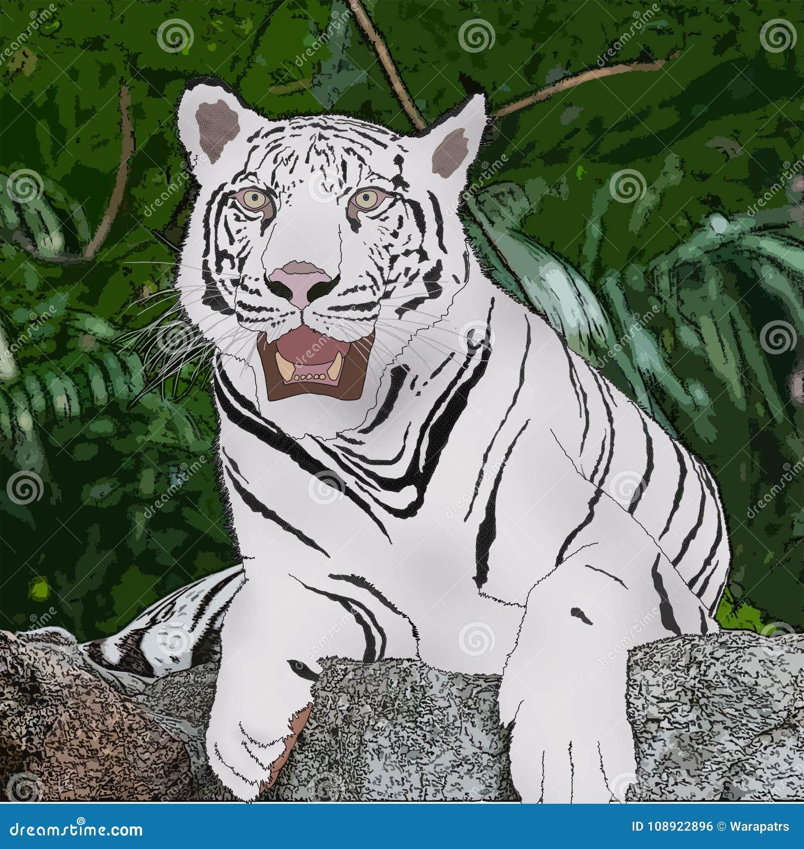 Tigre Blanc Dans La Peinture Numérique Daction Sur Le Tas