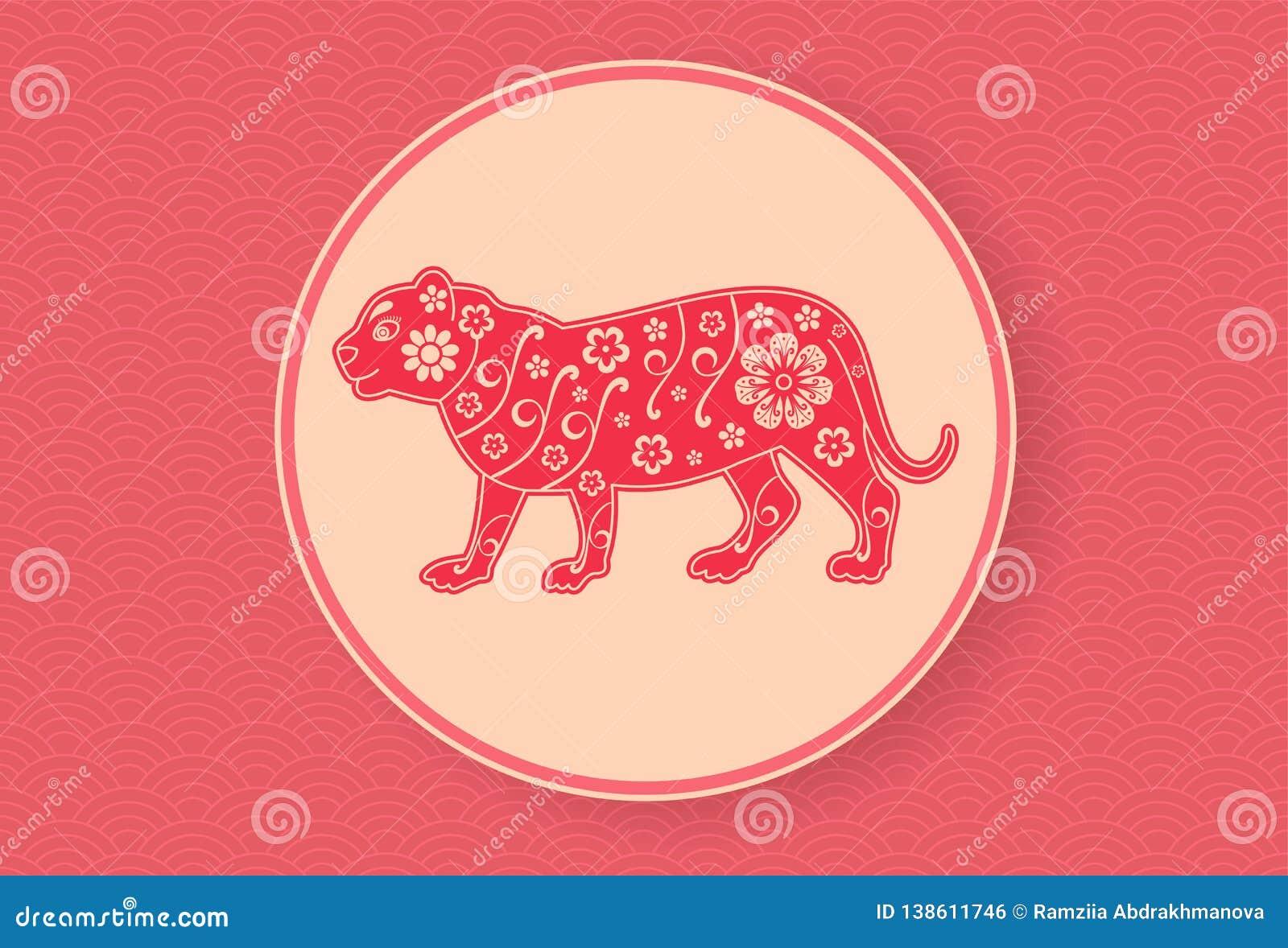 Tigre chinês Molde lunar do projeto da bandeira do ano novo Teste padrão ondulado vermelho Sinal do zodíaco Textura abstrata da f