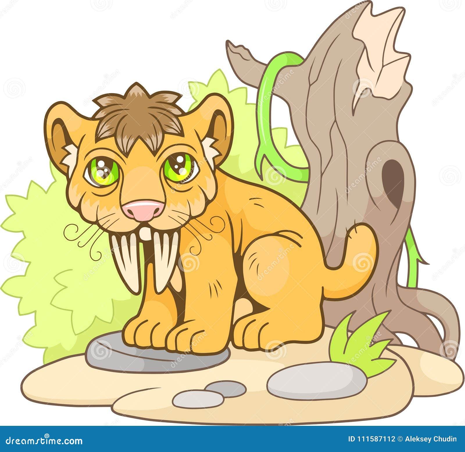 Tigre Dai Denti A Sciabola Sveglia Illustrazione Divertente