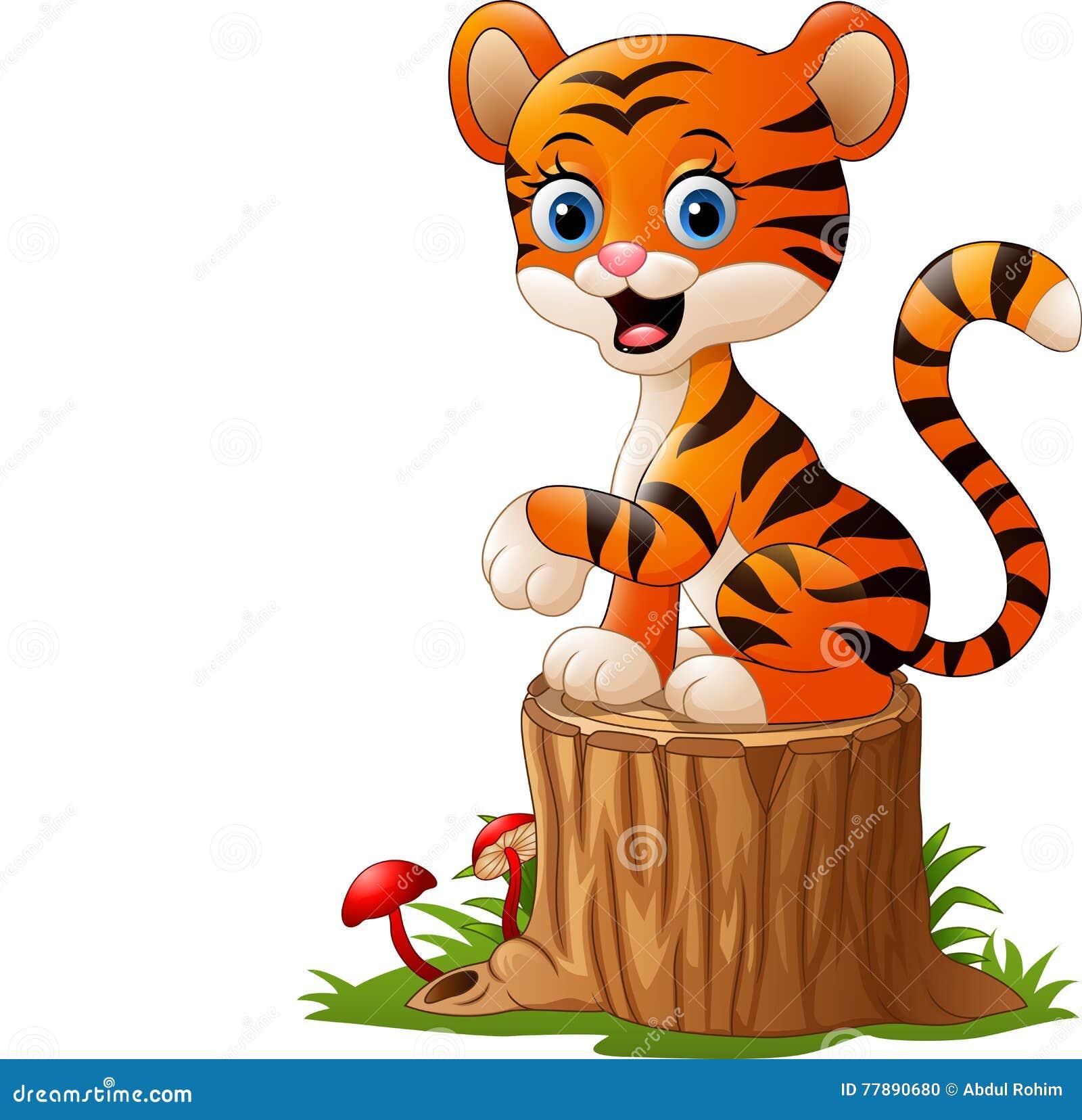 Tigre de bébé de bande dessinée se reposant sur le tronçon d arbre