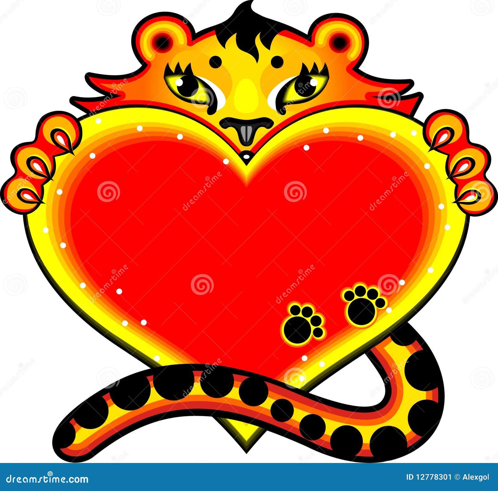 Tigre de dessin anim avec le coeur d 39 amour image stock image 12778301 - Ceour d amour ...