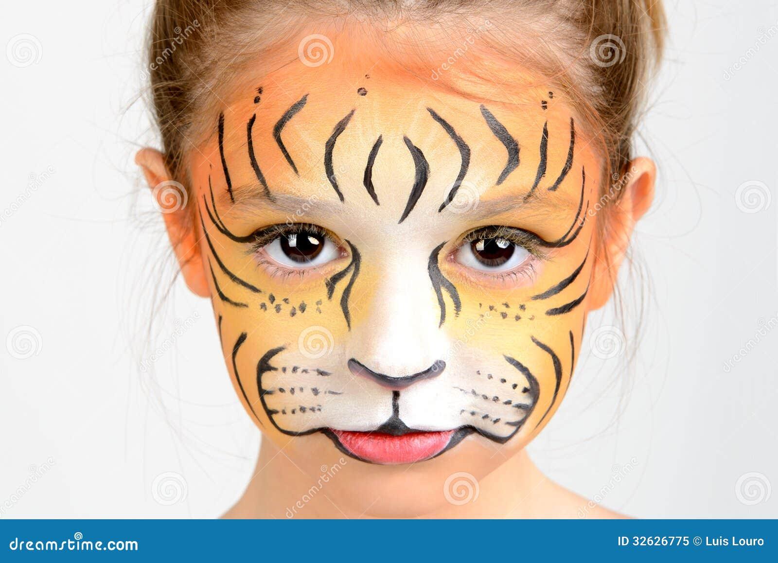 Tigre de la pintura de la cara imagen de archivo imagen - Rodillo para lacar ...