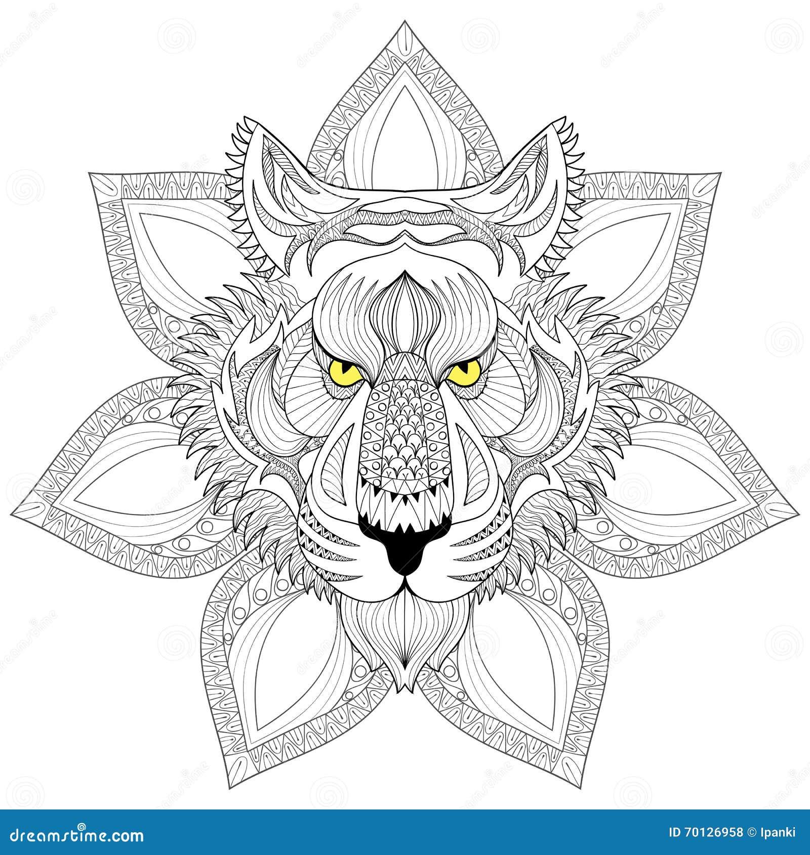 Tigre de vecteur visage de tigre de zentangle sur l - Mandalas de tigres ...