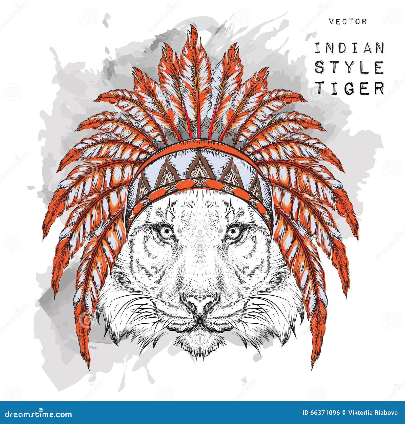 Tigre En La Cucaracha India Coloreada Tocado Indio De La Pluma Del ...
