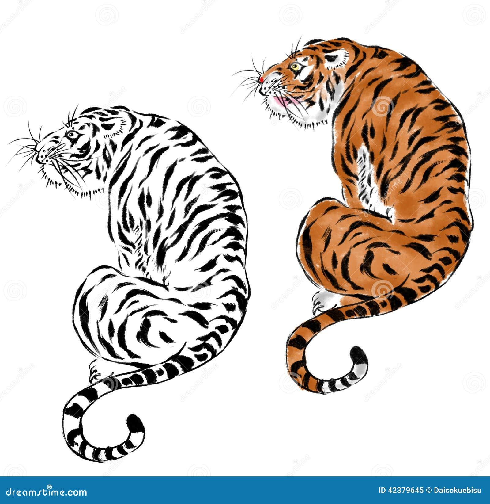 tigre giapponese illustrazione di stock immagine 42379645. Black Bedroom Furniture Sets. Home Design Ideas
