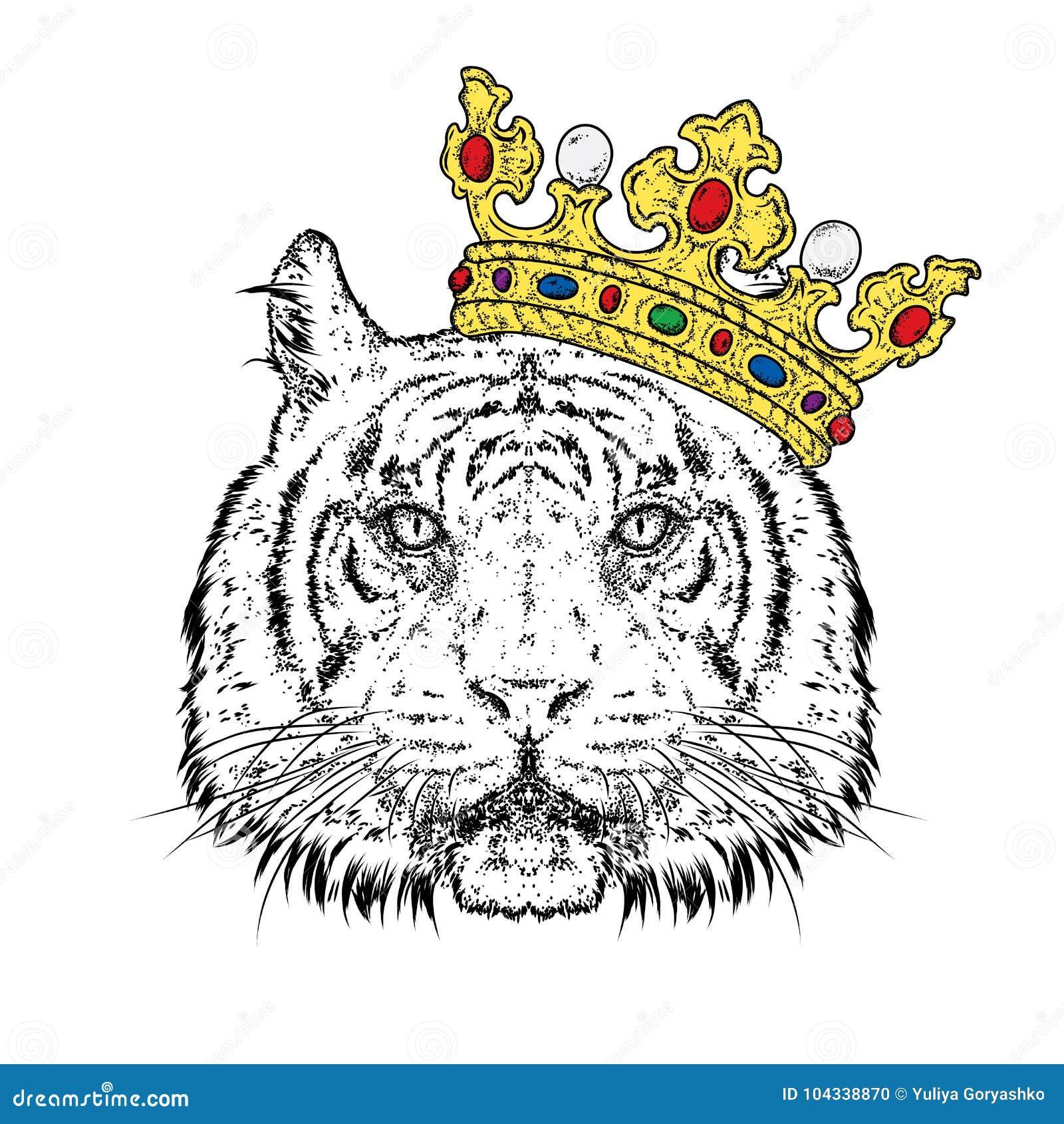 Tigre hermoso en la corona Vector el ejemplo para una postal o un cartel, impresión para la ropa Despredador