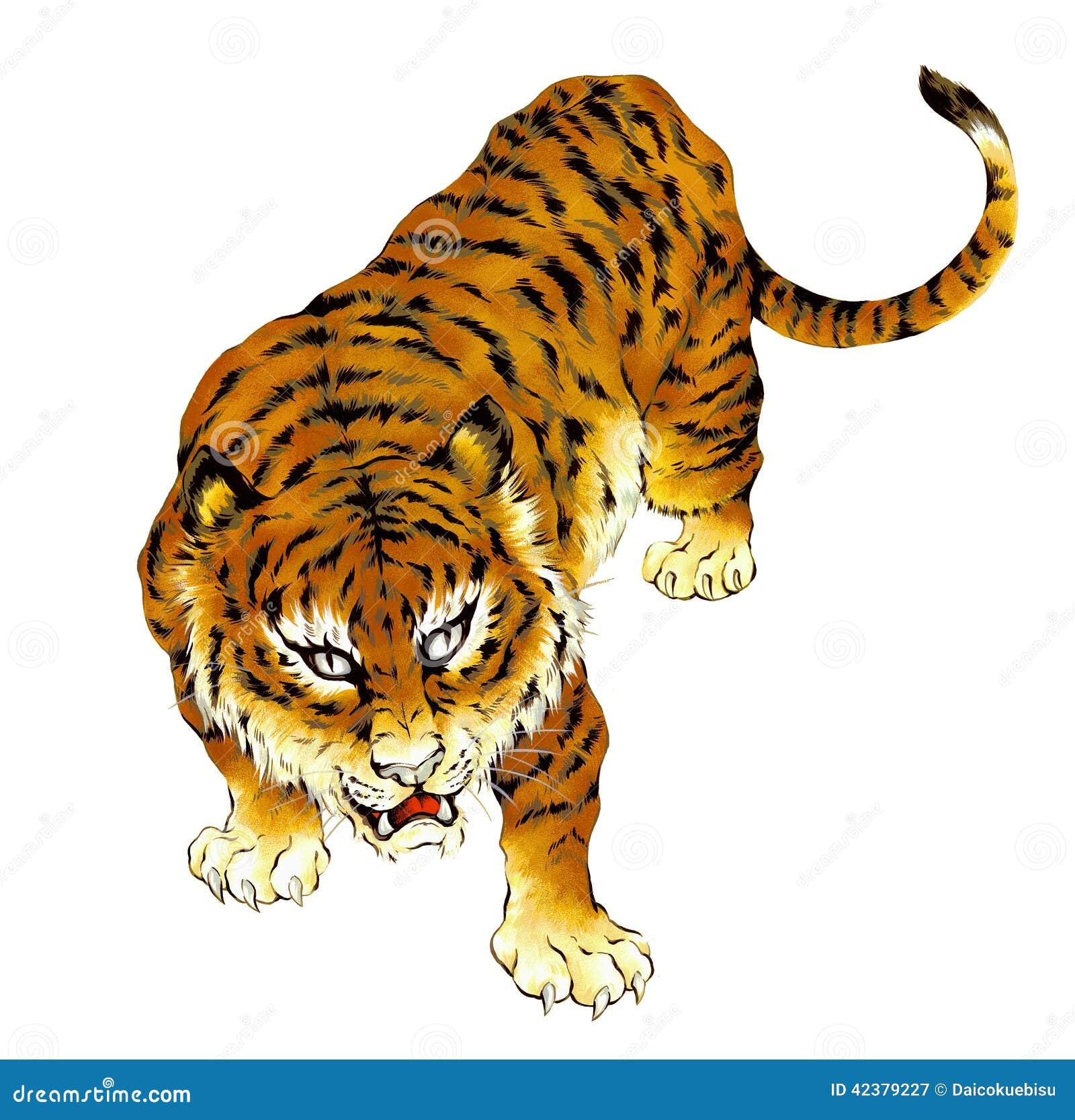 Tigre japonais illustration stock image 42379227 - Tatouage tigre japonais ...