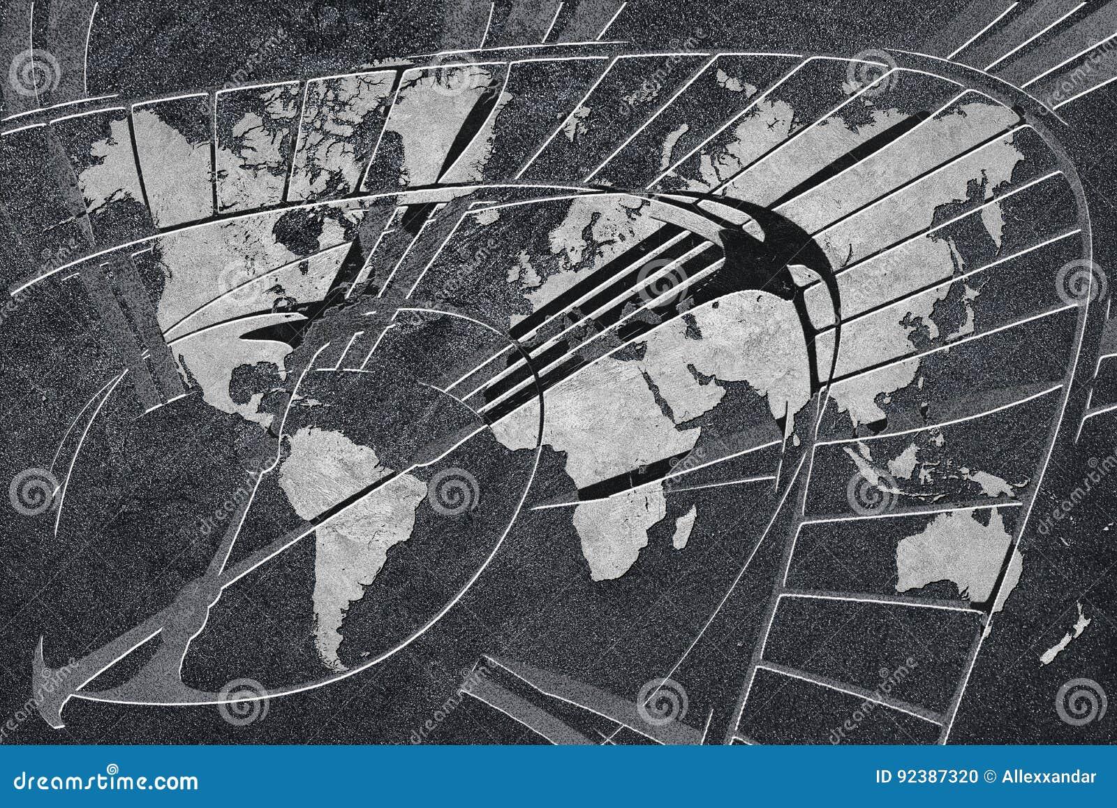 Tijd voor globale zaken Wereldkaart met een klok