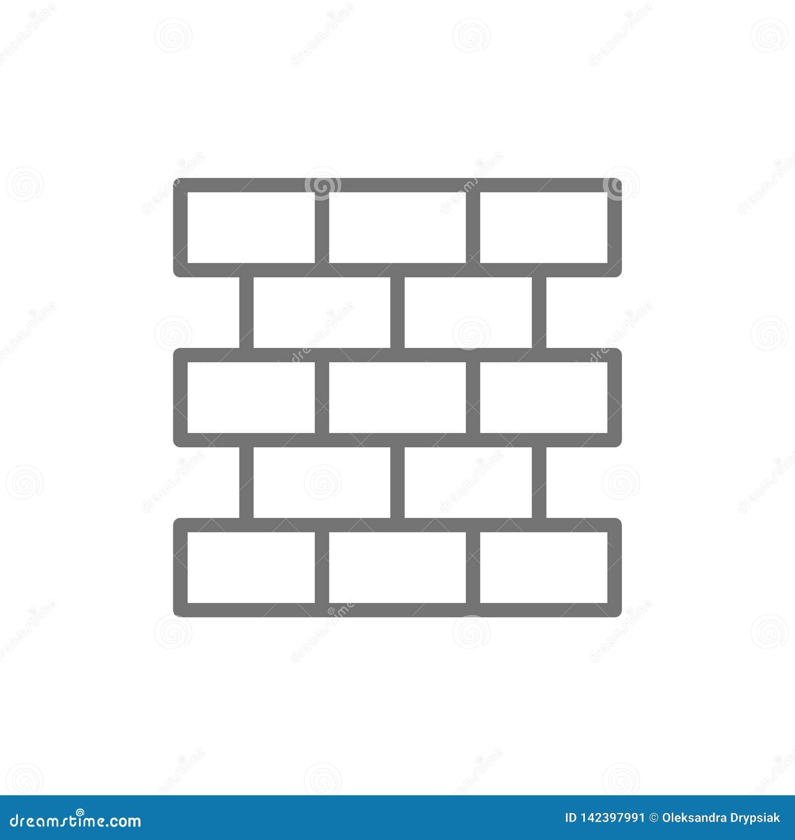 Tijolos, parede, linha ícone da alvenaria