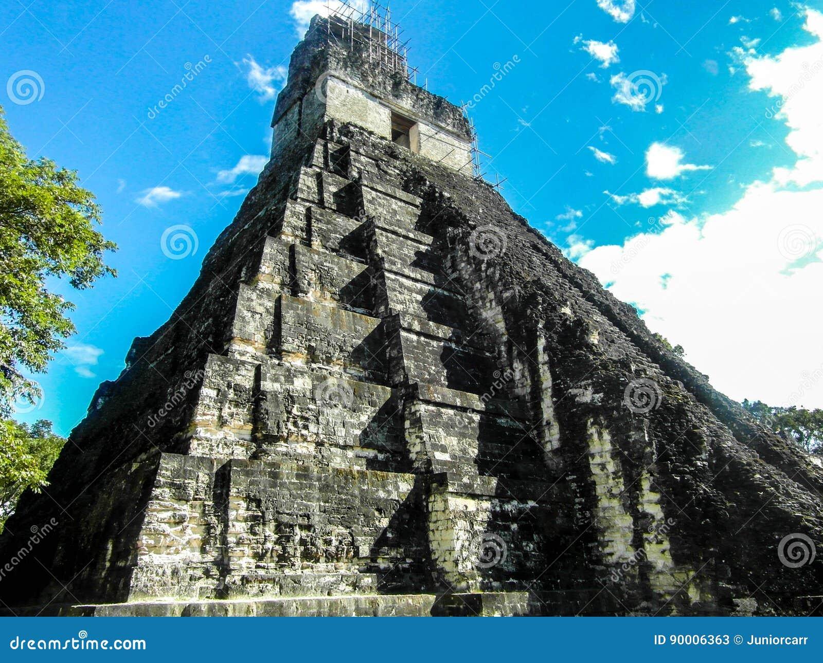 Tikal fördärvar Guatemala, den stora Jaguar templet